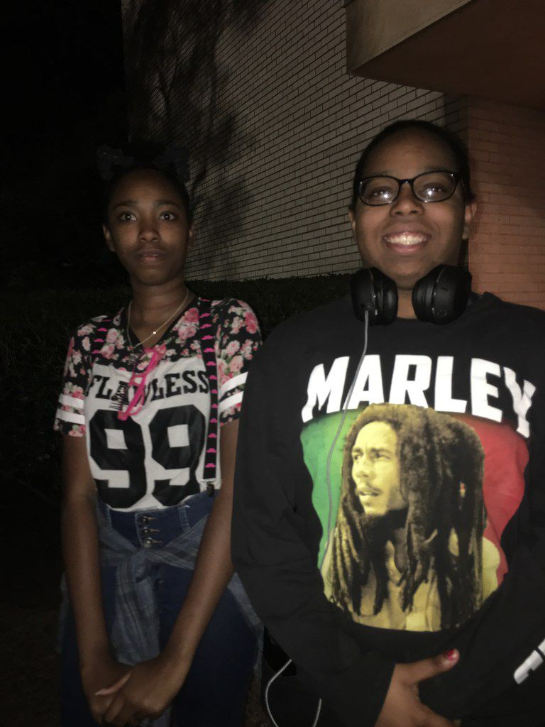 Sisters Ebony Thomas and Trinity Thomas (wearing a Bob Marley shirt) share thoughts about 'The Lion King' national tour, presented by Dallas Summer Musicals, after the Thursday, June 14 performance at Fair Park Music Hall. The show continues through July 8.
