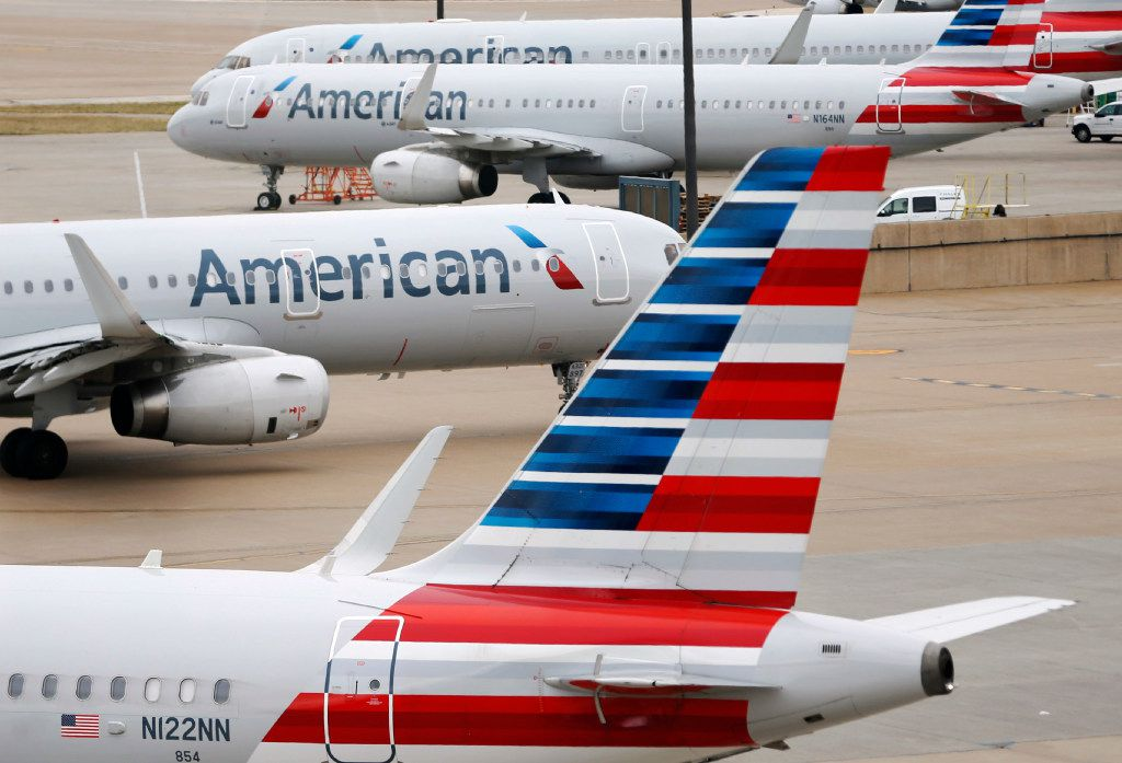 American Airlines planes in between terminals A and C at DFW International Airport.