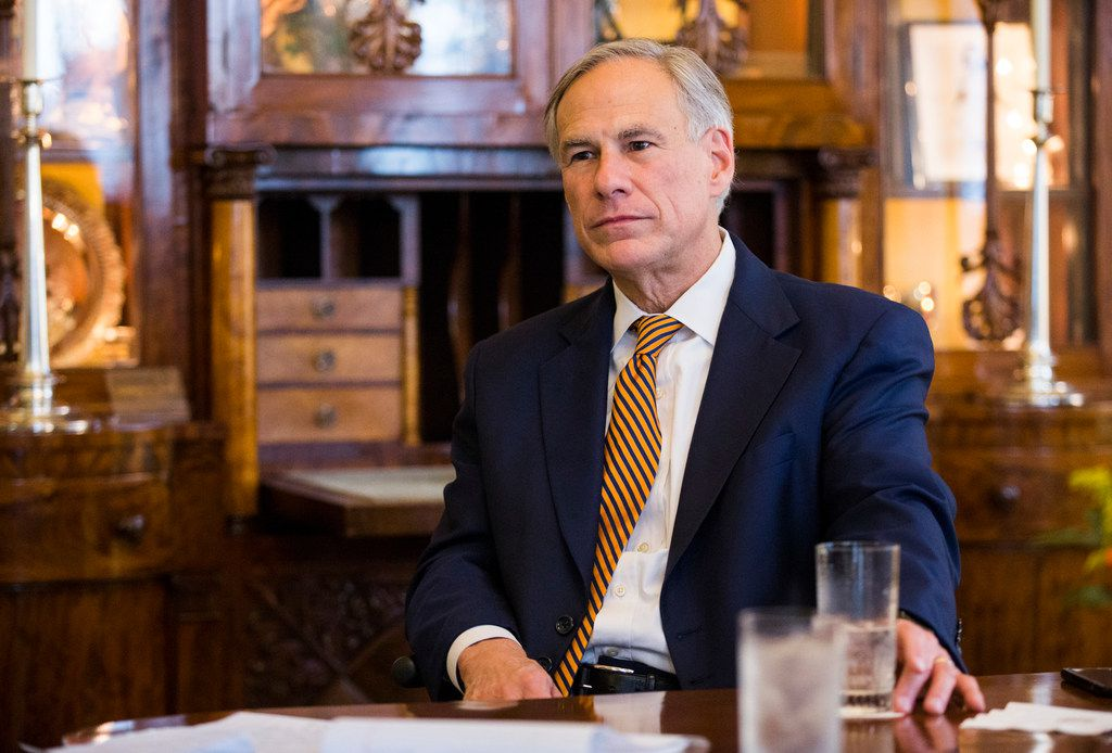 Gov. Greg Abbott is interviewed at the Governor's mansion on opening day of the 86th Texas Legislature on Jan. 8, 2019 in Austin.