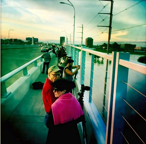 As discussed on the podcast, crowds gathered last weekend on the Sylvan Avenue bridge at sunset to snap pictures of the Trinity River and Dallas skyline. Photograph: Christopher Wynn