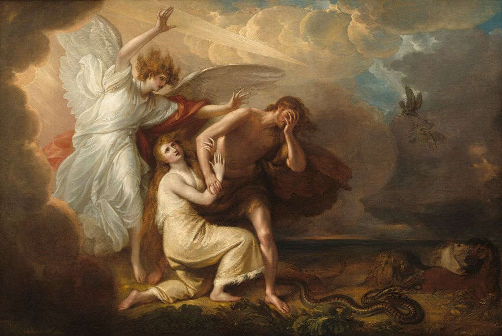 The Expulsion of Adam and Eve from Paradise,  by Benjamin West (1791).