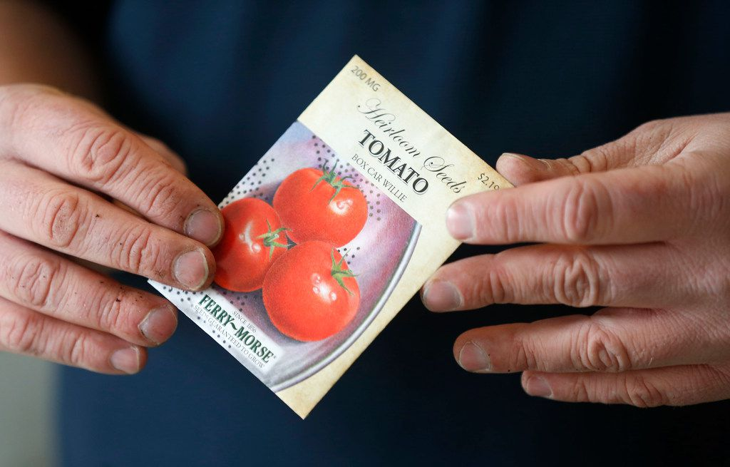 Horticulturalist Daniel Cunningham holds a package of tomato seeds.