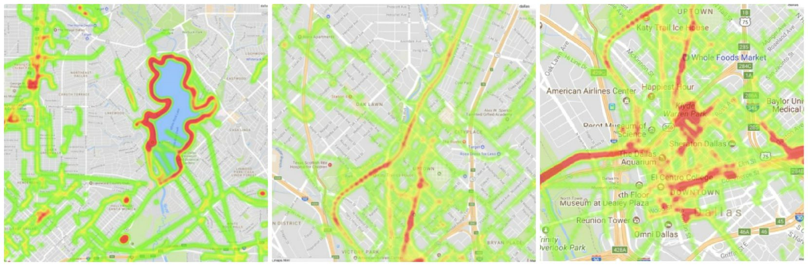 From left: LimeBike's heat maps showing where most of its trips originate: White Rock Lake, Uptown and the Katy Trail, and downtown Dallas