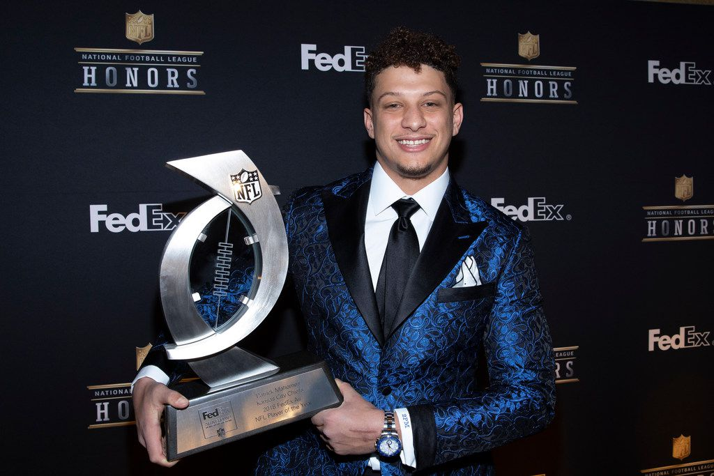 IMAGE DISTRIBUTED FOR FEDEX - Patrick Mahomes, of the Kansas City Chiefs, accepts the 2018 FedEx Air Player of the Year Award, at the NFL Honors at the Fox Theatre on Saturday, Feb. 2, 2019, in Atlanta. FedEx donated $20,000 in his name to the USO. FedEx is the Official Delivery Service Sponsor of the NFL. (Omar Vega/AP Images for FedEx)