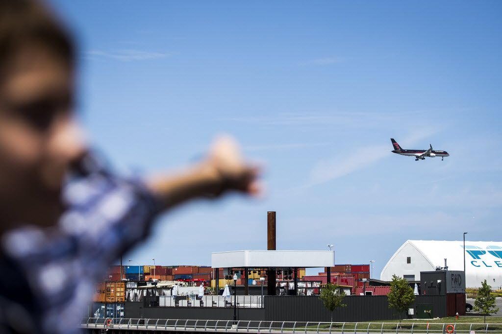 """Donald Trump's plane, as if on cue, flies past  just as Texas Sen. Ted Cruz said, """"Our party now has a nominee..."""" while addressing supporters on the third day of the Republican National Convention on Wednesday, July 20, 2016, in Cleveland. (Smiley N. Pool/The Dallas Morning News)"""
