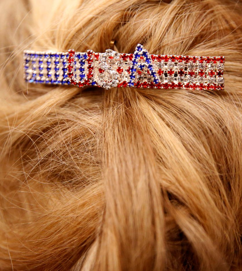 Susan Frazier wears a USA barrette during Sen. Ted Cruz's campaign rally at Sharon Shrine Center in Tyler on Thursday, Oct. 25, 2018.