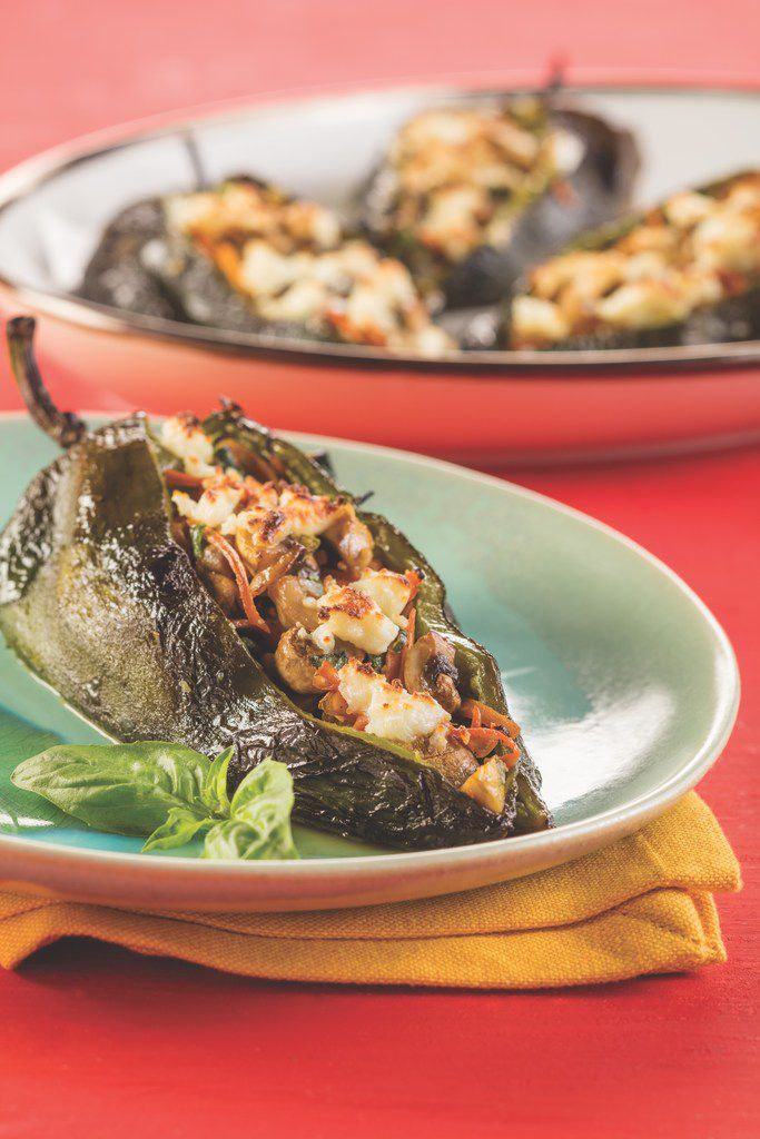 Veggie Stuffed Poblanos from Latin Comfort Foods Made Healthy.