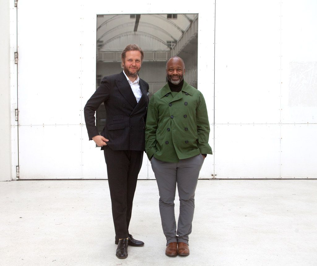 From left, Icelandic artist Ragnar Kjartansson and Chicago-based artist Theaster Gates at the Nasher Prize Dialogues series at the Reykjavík Art Museum in August