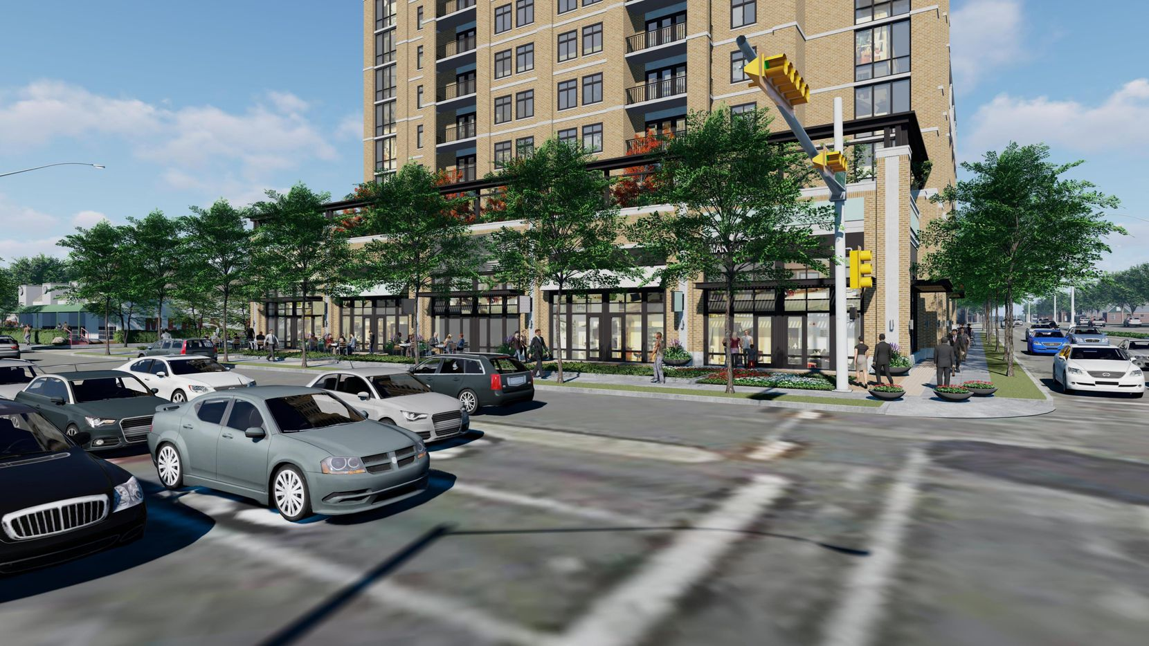 A new apartment high-rise and retail are planned for the corner of Oak Lawn and Lemmon avenues.