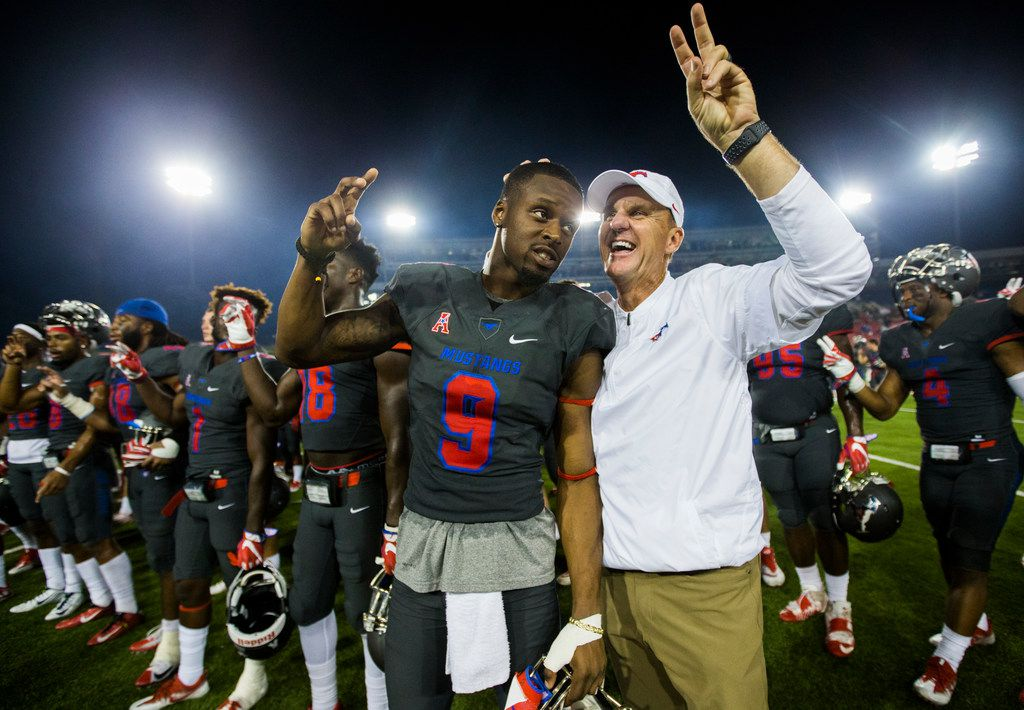 Southern Methodist Mustangs wide receiver Shelby Walker (9) has his head rubbed by head coach Chad Morris after a 44-21 win over the Arkansas State Red Wolves on Saturday, September 23, 2017 at Ford Stadium on the SMU campus in Dallas. (Ashley Landis/The Dallas Morning News)