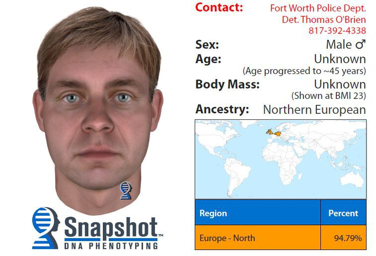 A man with sandy blond to light brown dark hair may have looked like this as a 25-year-old, according to DNA phenotyping technology.