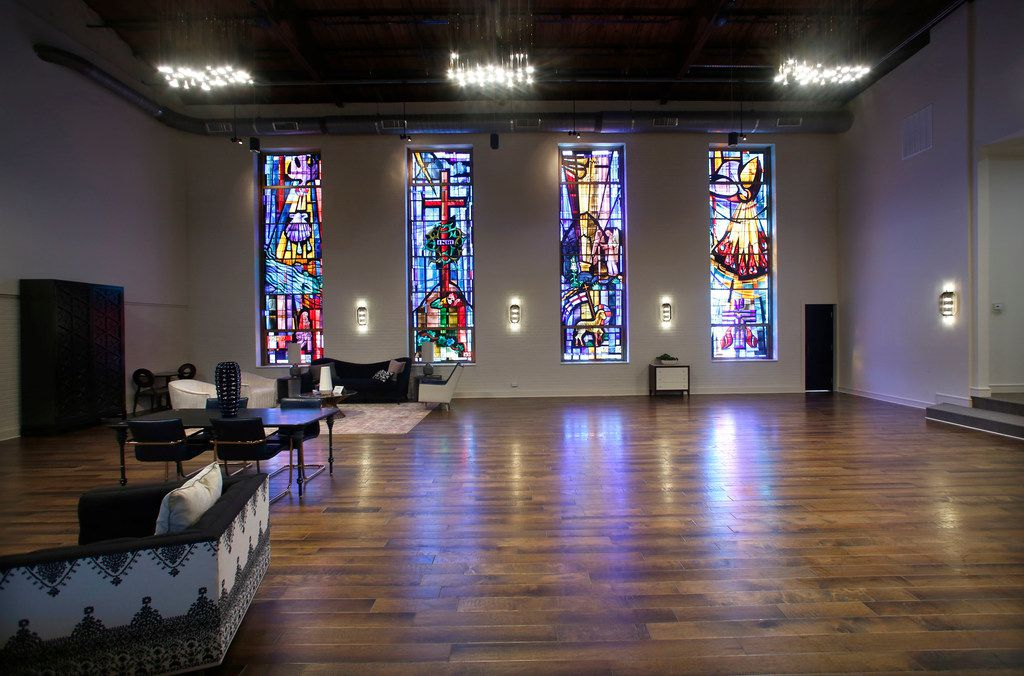 The original stained glass remains in the old church sanctuary that's now an events space at CHIJMES, a boutique hotel and event venue on Zang Blvd in Dallas Wednesday, August 15, 2018. (Guy Reynolds/The Dallas Morning News)