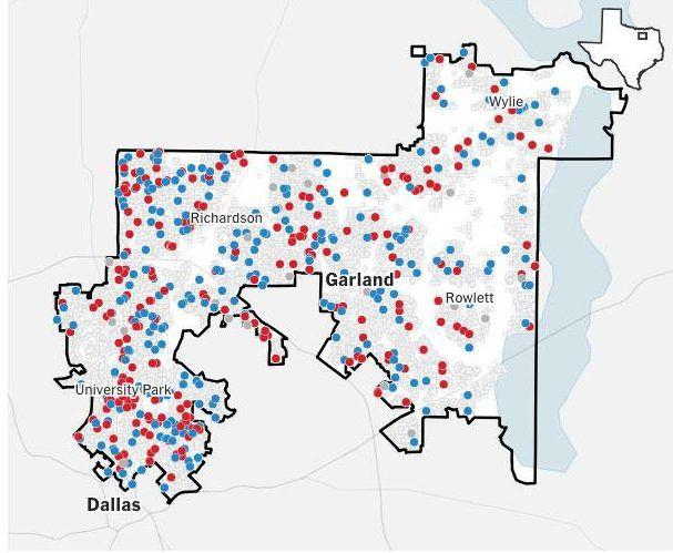 Este mapa muestra las 43,441 llamadas realizadas para una encuesta en el distrito 32, realizada por The New York Times Upshot y Siena College. NYT