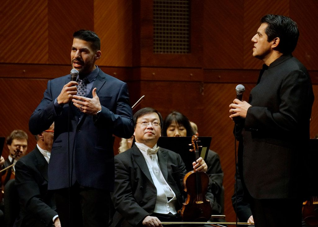 Composer Jimmy Lopez speaks with Fort Worth Symphony Orchestra Conductor Miguel Harth-Bedoya before a performance at Bass Performance Hall in Fort Worth on Jan. 11, 2019.