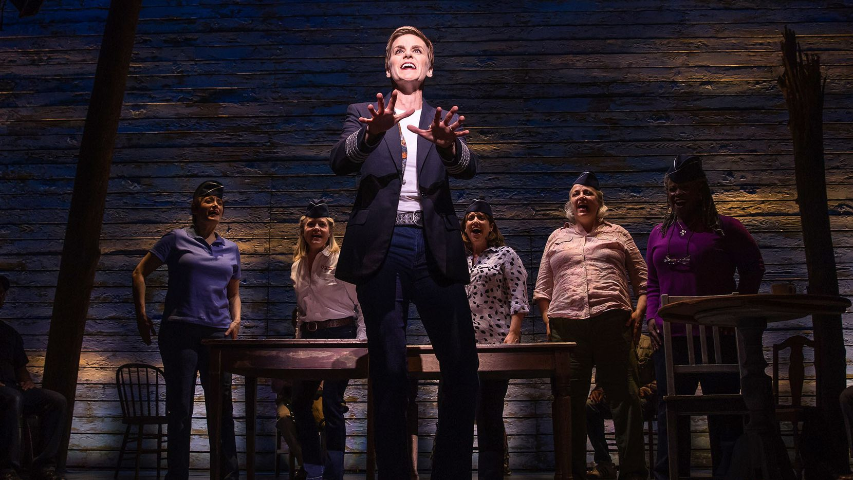 Jenn Colella and the cast of 'Come From Away,' one of the 2017 nominees for Best Musical in the 71st annual Tony Awards.