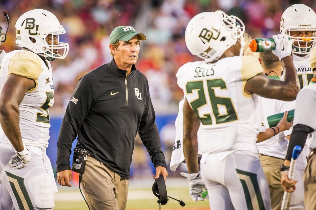 Baylor head coach Art Briles paces the sidelines during a timeout during the second quarter of an NCAA football game against SMU at Ford Stadium on Friday, Sept. 4, 2015, in Dallas. (Smiley N. Pool/The Dallas Morning News)