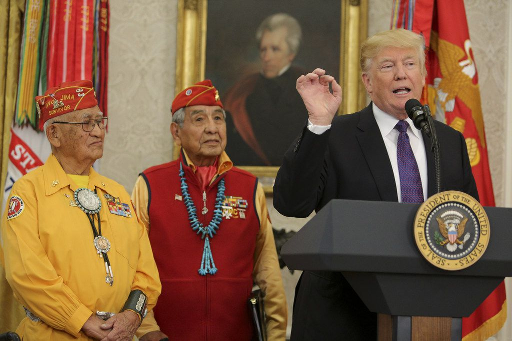 """President Donald Trump speaks during an event honoring members of the Native American code talkers in the White House on Nov. 27, 2017. """"You were here long before any of us were here. Although we have a representative in Congress who they say was here a long time ago. They call her Pocahontas,"""" in reference to his nickname for Sen. Elizabeth Warren. (Photo by Oliver Contreras-Pool/Getty Images)"""