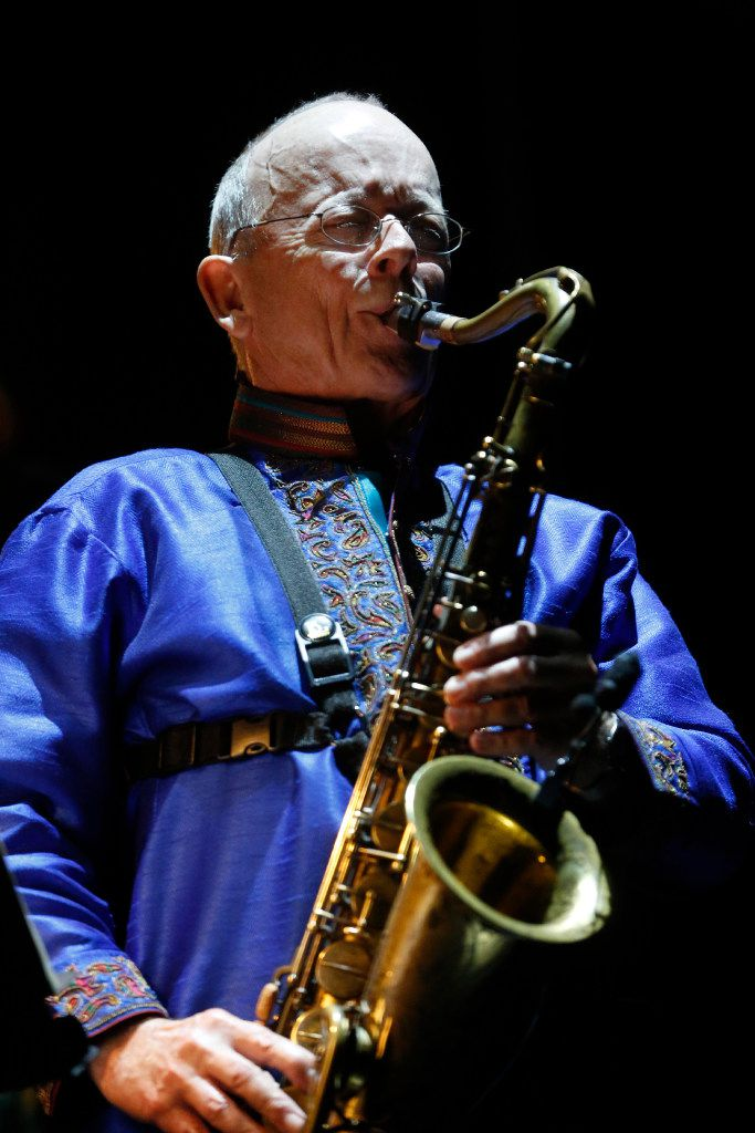 Pete Brewer provides flourishes with a tenor saxophone.