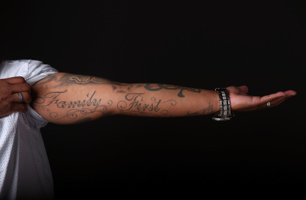 """""""Family First"""" is another of Trenton Johnson's tattoos. (Rose Baca/The Dallas Morning News)"""