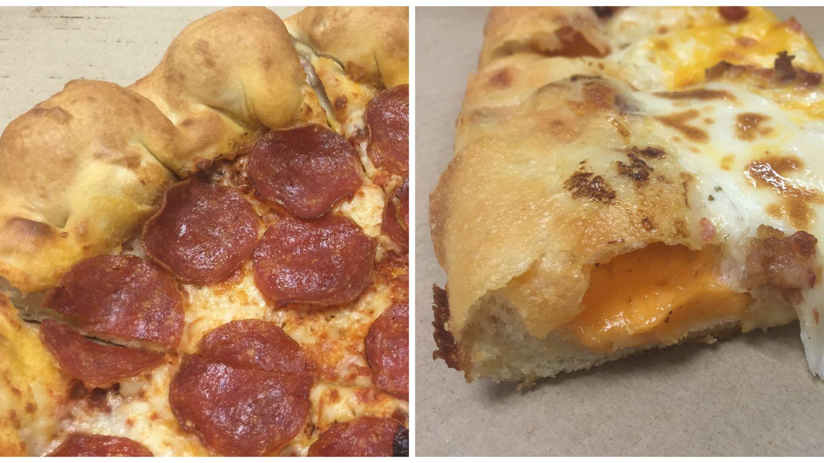 Pizza Hut's stuffed-crust pizza, on left, was compared to Cicis stuffed-crust pizza, on the right.