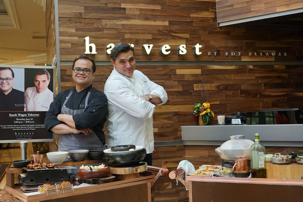 Notable chefs such as Todd English join chef Roy Ellamar (left) at Harvest restaurant during a snack wagon event.