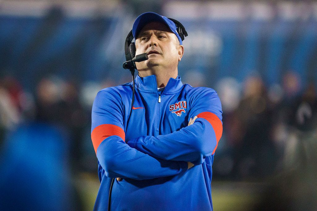 SMU head coach Sonny Dykes watches from the sidelines during the first half of an NCAA football game against Memphis at Liberty Bowl Memorial Stadium on Saturday, Nov. 2, 2019, in Memphis, Tenn. (Smiley N. Pool/The Dallas Morning News)