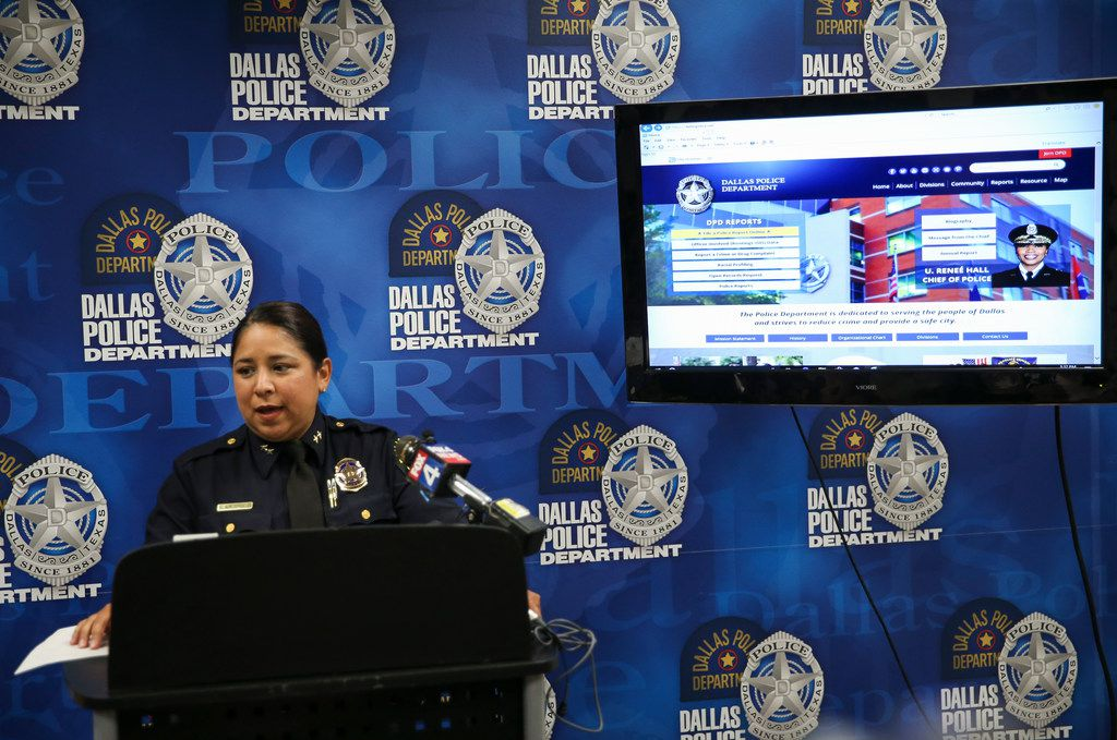 Dallas Police Assistant Chief Angela Shaw speaks to members of the media regarding the department's new online reporting system for nonemergency, low-priority crimes on June 18, 2019.