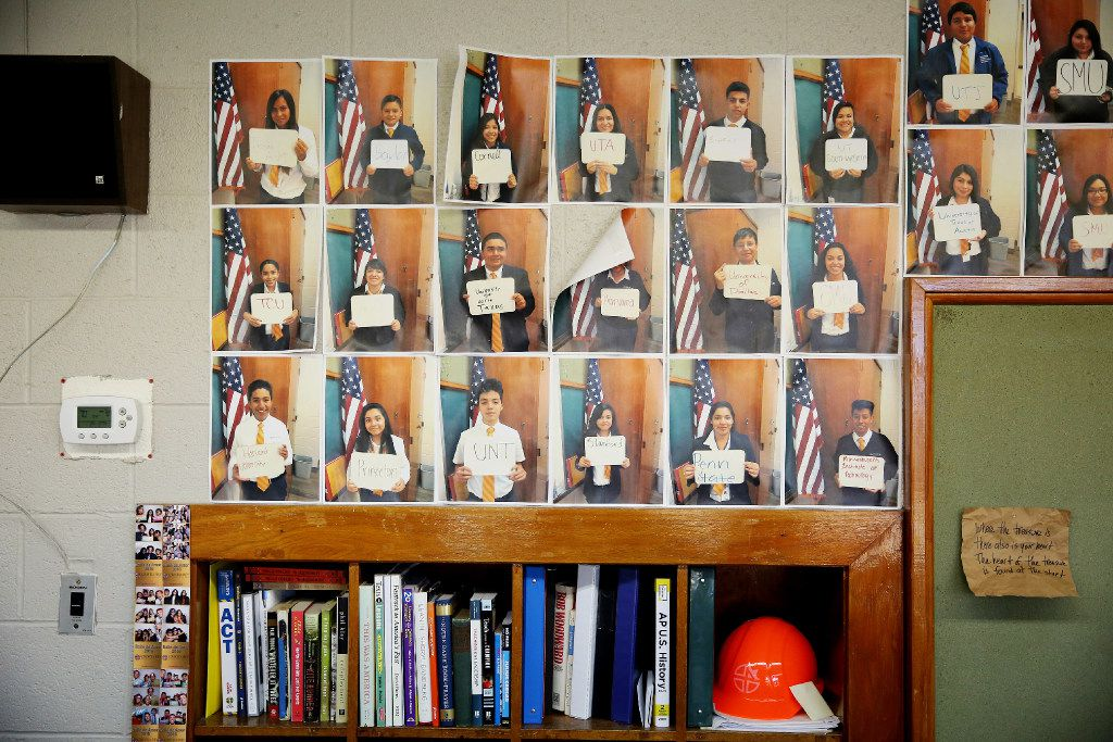 World literature teacher Tim Woodward's Cristo Rey classroom is decorated with photos of students holding signs with the name of their dream colleges. Cristo Rey is a Catholic private school in Pleasant Grove within a network of 32 others school nationwide. All students who attend come from households at or below the poverty line. Students who attend work one day a week to pay toward their tuition. There is a 100 percent college acceptance across the network.