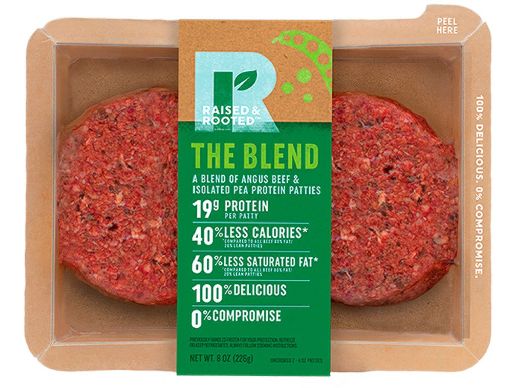 This undated product image provided by Tyson Foods, Inc. shows a plant-based meat alternative made by Tyson Foods. The blended burger made from beef and pea protein will follow this fall. The product will be sold under a new brand, Raised and Rooted, which will continue to develop new plant-based products and blends.