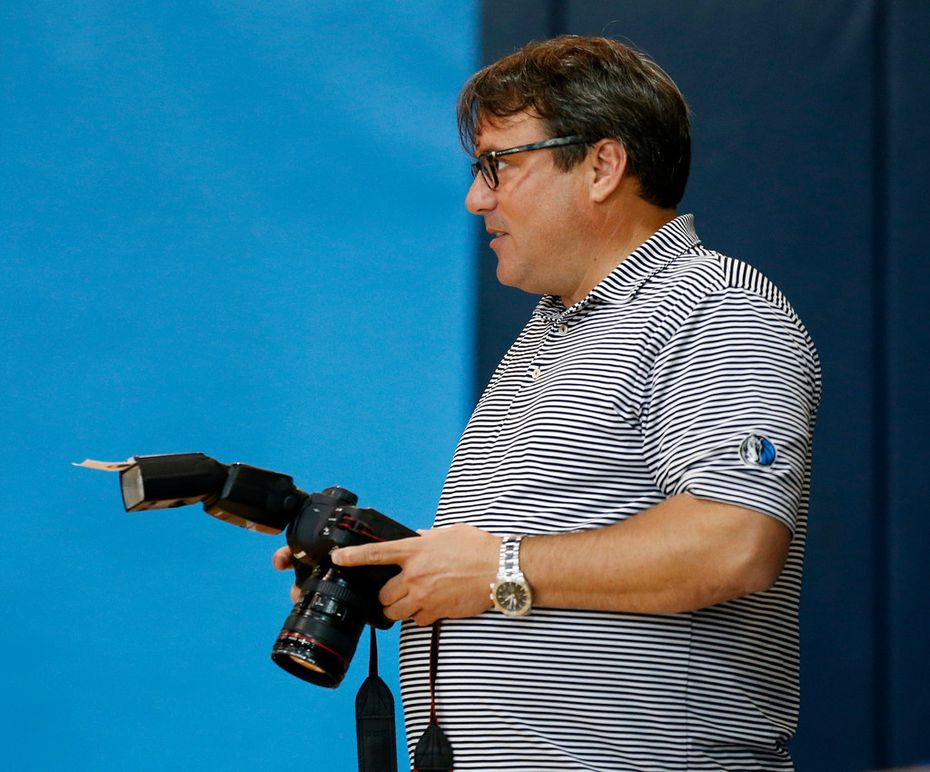 Dallas Mavericks photographer Danny Bollinger is pictured during Dallas Mavericks Media Day at the American Airlines Center in Dallas, Friday, September  21, 2018. (Tom Fox/The Dallas Morning News)