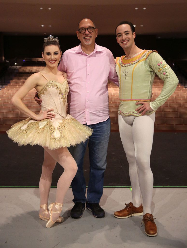 After the Chamberlain Performing Arts show on Nov. 25 at the Eisemann Center in Richardson, Manuel Mendoza (center) poses with New York City Ballet principal dancers Tiler Peck (left) and Tyler Angle.