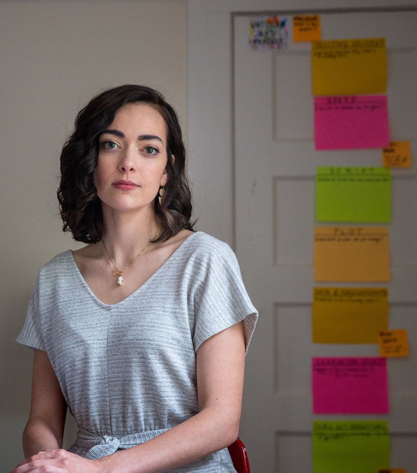 Dallas actress and writer Janielle Kastner scribbled the elements of storytelling for her podcast on sticky notes.
