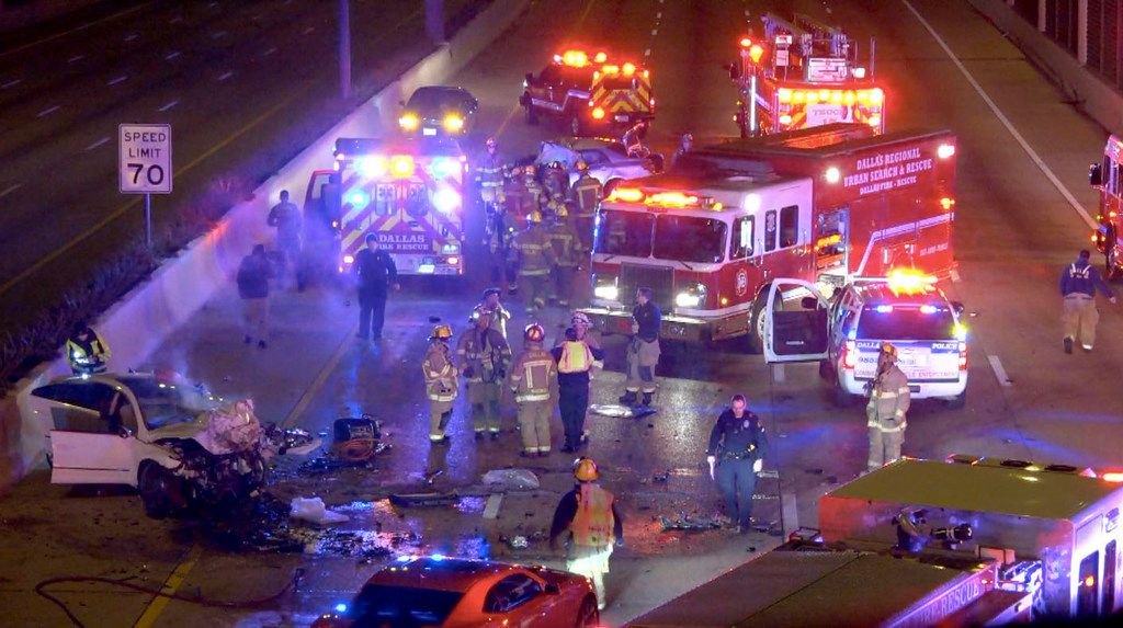 Dallas-Fire Rescue and Dallas Police personnel respond early Nov. 8, 2017 to a fatal crash on U.S. 75 (North Central Expressway) near Lovers Lane.