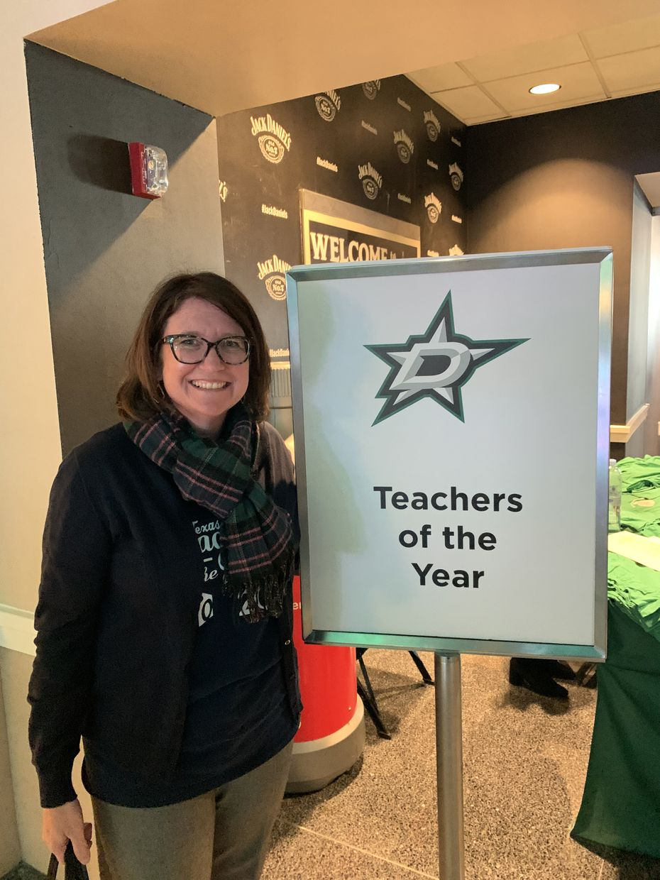 Tyra Damm attended the Nov. 2 Dallas Stars game against the Montreal Canadiens as part of a Teachers of the Year recognition.
