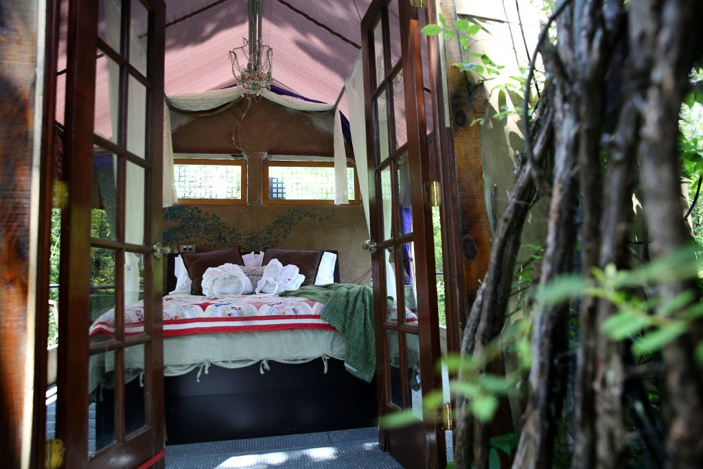 The open-air bedroom in the Majestic Oak Treehouse at Savannah's Meadow