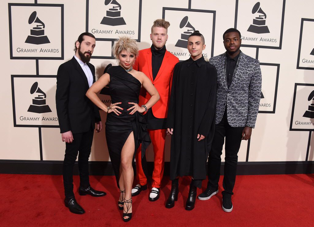 Avi Kaplan, from left, Kirstin Maldonado, Scott Hoying, Mitch Grassi, and Kevin Olusola of Pentatonix arrive at the 58th annual Grammy Awards at the Staples Center on Monday, Feb. 15, 2016, in Los Angeles. (Photo by Jordan Strauss/Invision/AP)