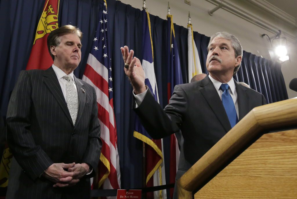 Lt. Gov. Dan Patrick (left) and Sen. Larry Taylor, R-Friendswood, have been working for two sessions to provide state financial assistance for private-school tuition. (2015 File Photo/The Associated Press)