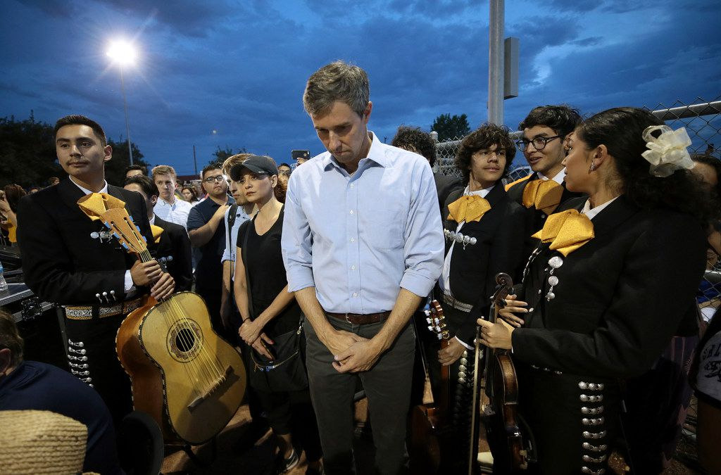 Presidential candidate and El Pasoan Beto O'Rourke prays during the Hope Border Institute prayer vigil in El Paso on Aug. 4, 2019, a day after the mass shooting at a Walmart store.