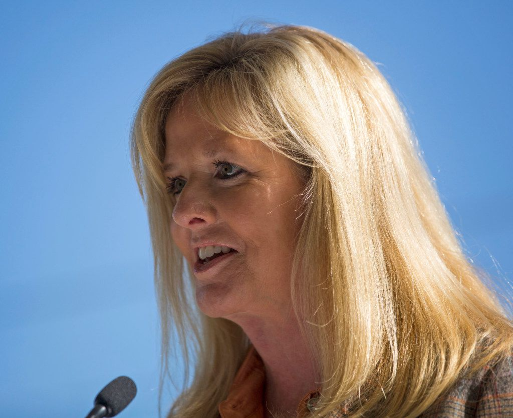 Amy Simmons speaks during a press conference to announce the donation by her family of $50 million to the City of Dallas Monday, October 31, 2016 in Dallas. The money will help fund a large, urban park planned for the Trinity River levee area near downtown Dallas. (G.J. McCarthy/The Dallas Morning News)