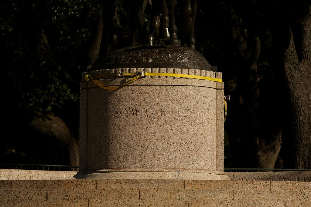 The base or pedestal of the statue of Confederate general Robert E. Lee at Robert E. Lee Park in the Oak Lawn neighborhood of Dallas Thursday September 7, 2017. The Dallas City Council voted 13-1 to have the statue removed.