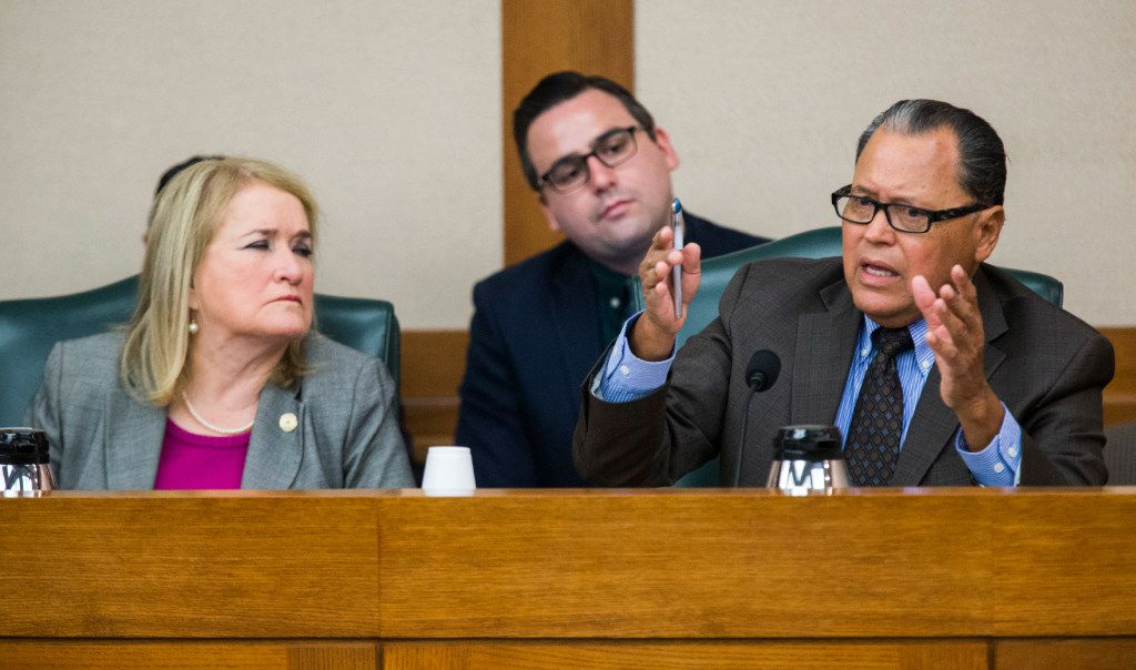 Senator Jose Rodriguez, right, asks questions to Senator Lois Kolkhorst, not pictured, author of SB3, otherwise known as the bathroom bill, during a Senate State Affairs Committee public hearing on the fourth day of a special legislative session on Friday, July 21, 2017 at the Texas state capitol in Austin, Texas. At right is Senator Jane Nelson. (Ashley Landis/The Dallas Morning News)