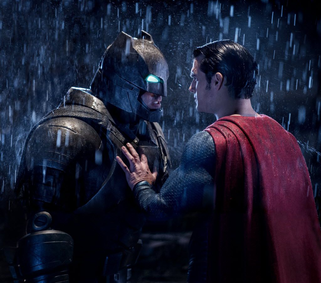 L-R: Ben Affleck as Batman and Henry Cavill as Superman in Batman V. Superman: Dawn of Justice.