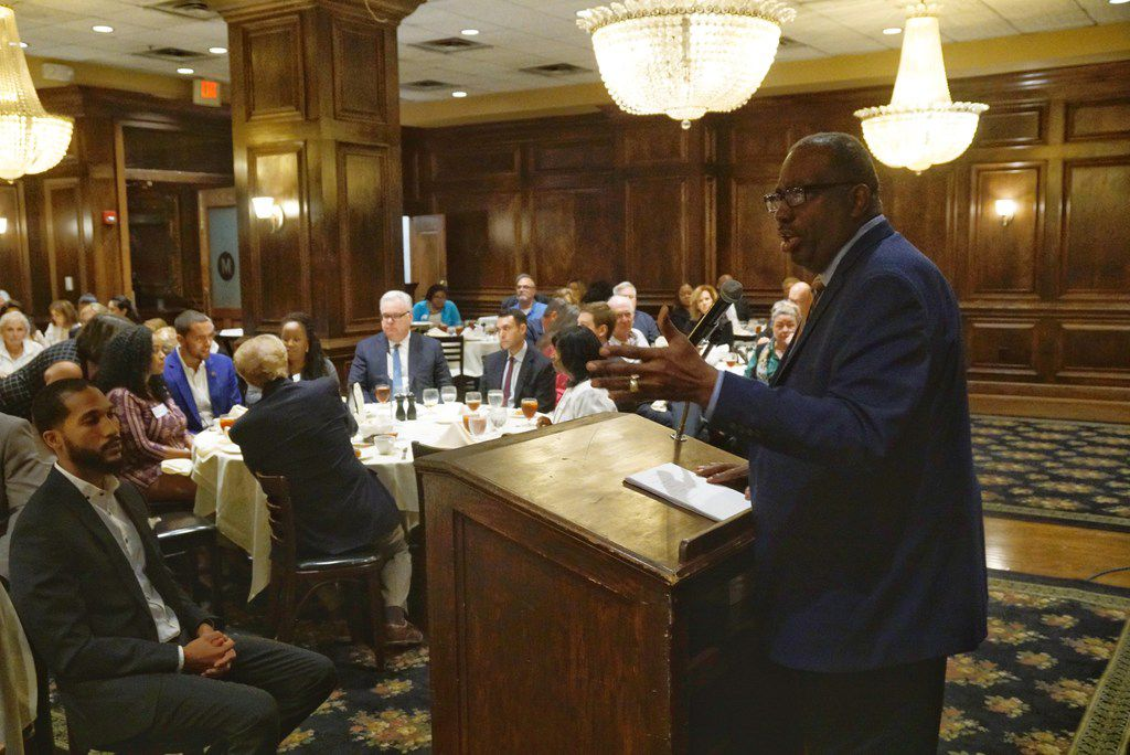Texas Sen. Royce West spoke at Maggiano's in Dallas on Wednesday.
