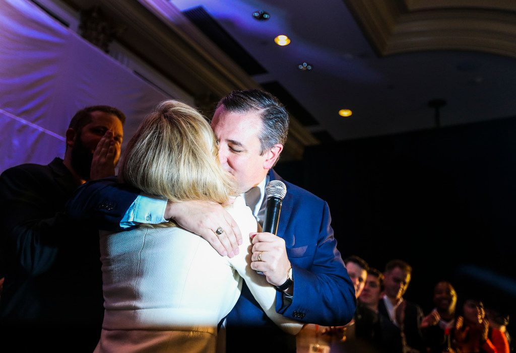 Sen. Ted Cruz, R-Texas, embraces his wife Heidi Cruz as he claims victory over Beto O'Rourke during an election night party Tuesday, Nov. 6, 2018, at Hilton Post Oak by the Galleria in Houston.