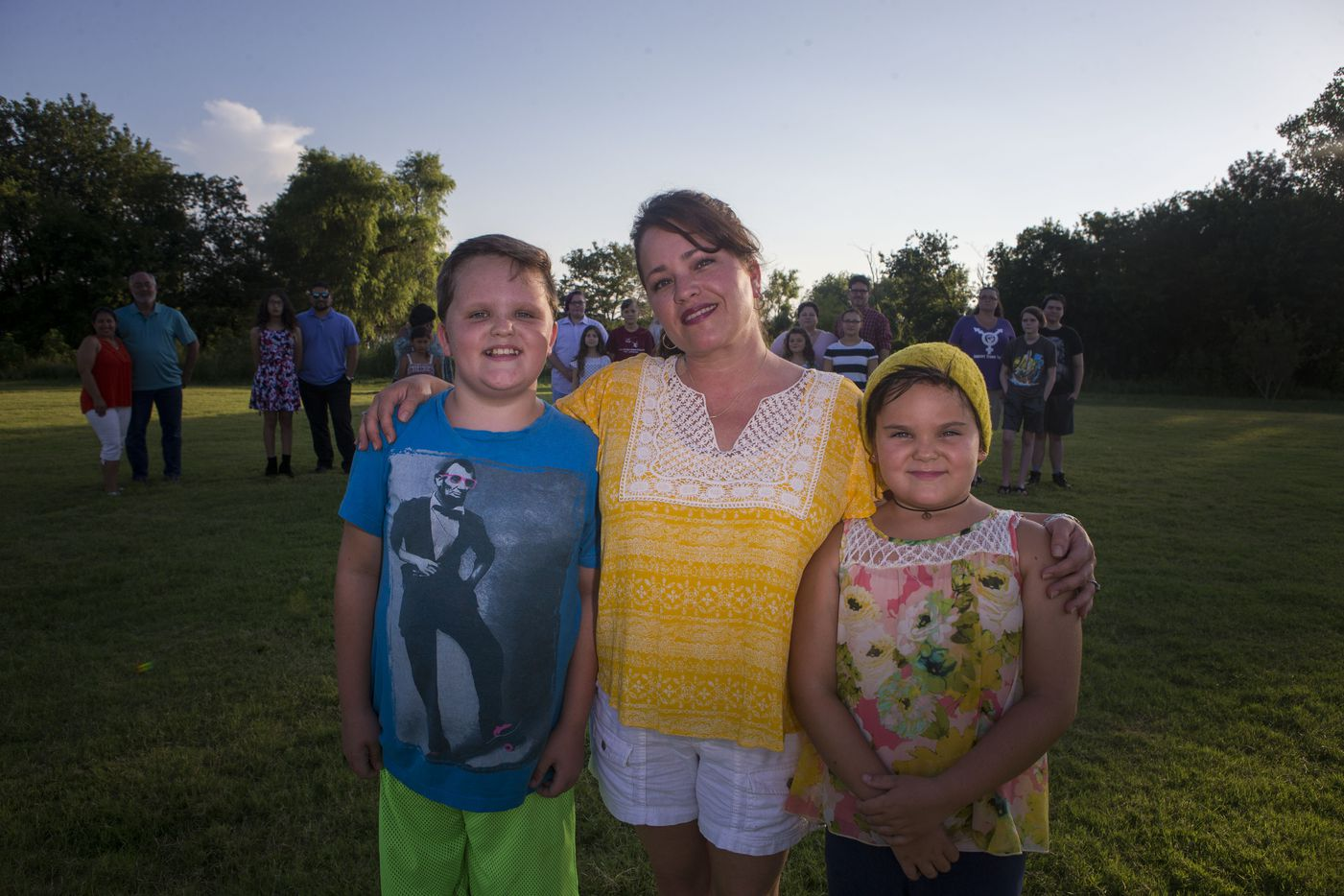 Miles, Chelsa and Marilyn Morrison on July 7, 2017, in Little Elm. The Morrisons are part of a group of families with transgender youth.