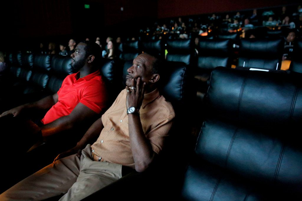 Exonerees Johnnie Lindsey (right) and Christopher Scott watched a screening of True Conviction last March.