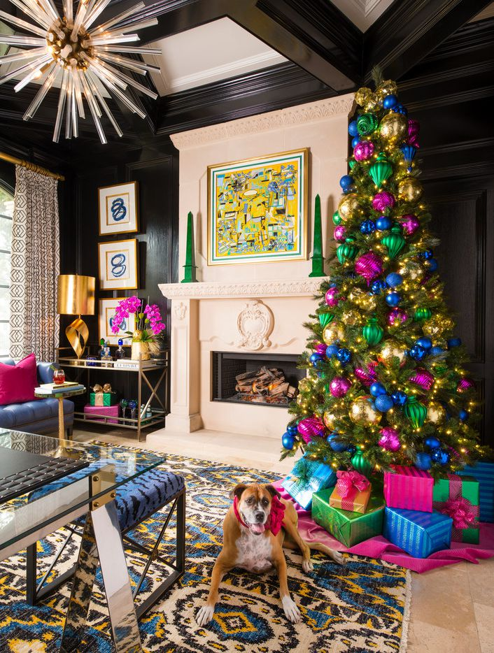 Designer Shay Geyer doesn't shy away from bright colors for the holidays and neither does her dog, Roxy.