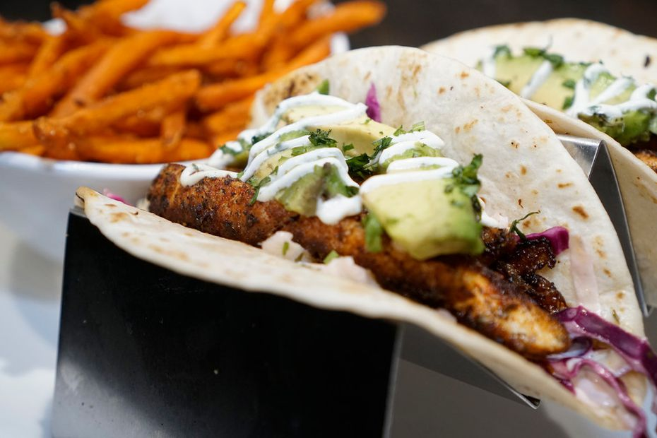 Blackened redfish tacos with sweet potato fries at Walk-On's Bistreaux & Bar in Irving