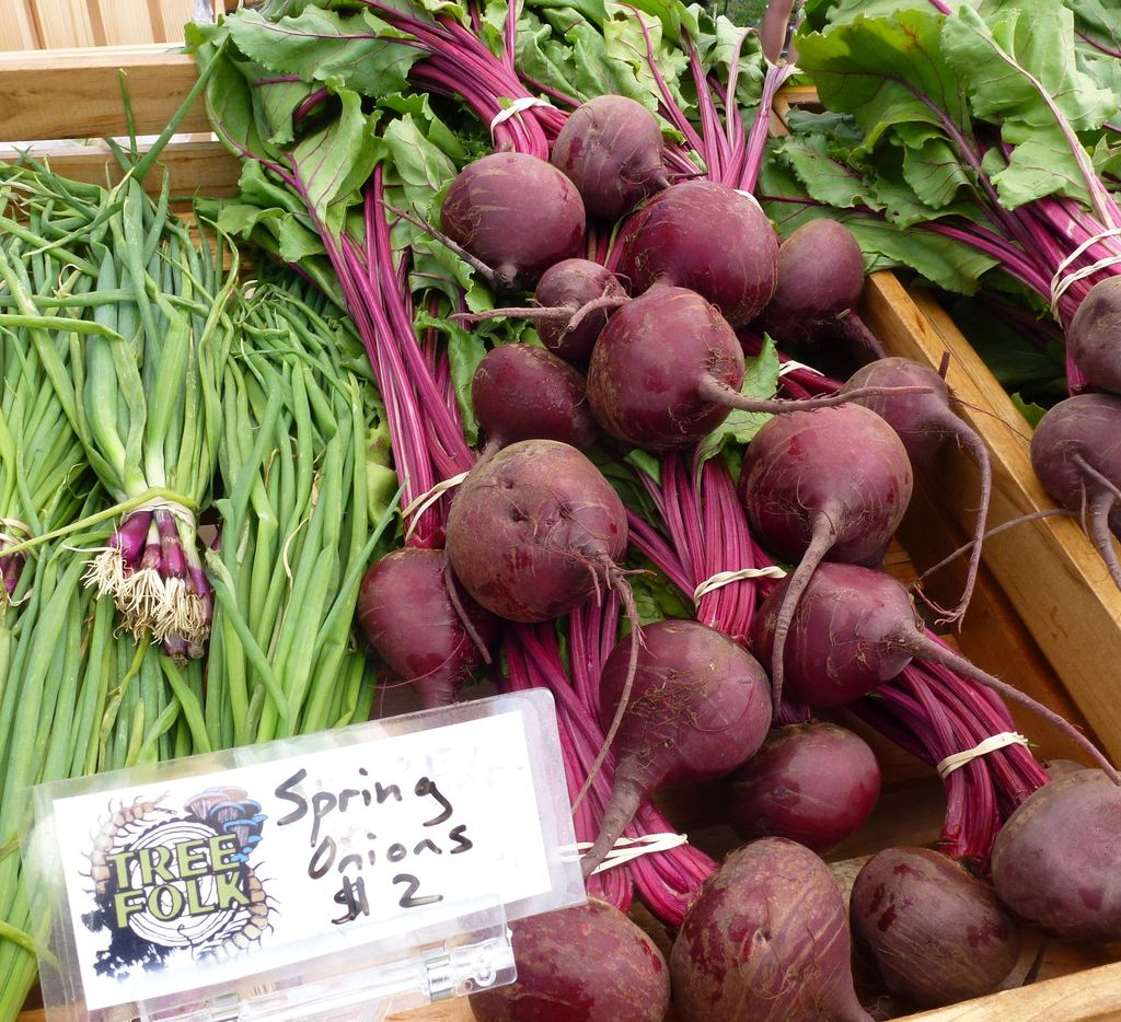 Tree Folk specializes in mushrooms but also brings other veggies such as these onions and beets.