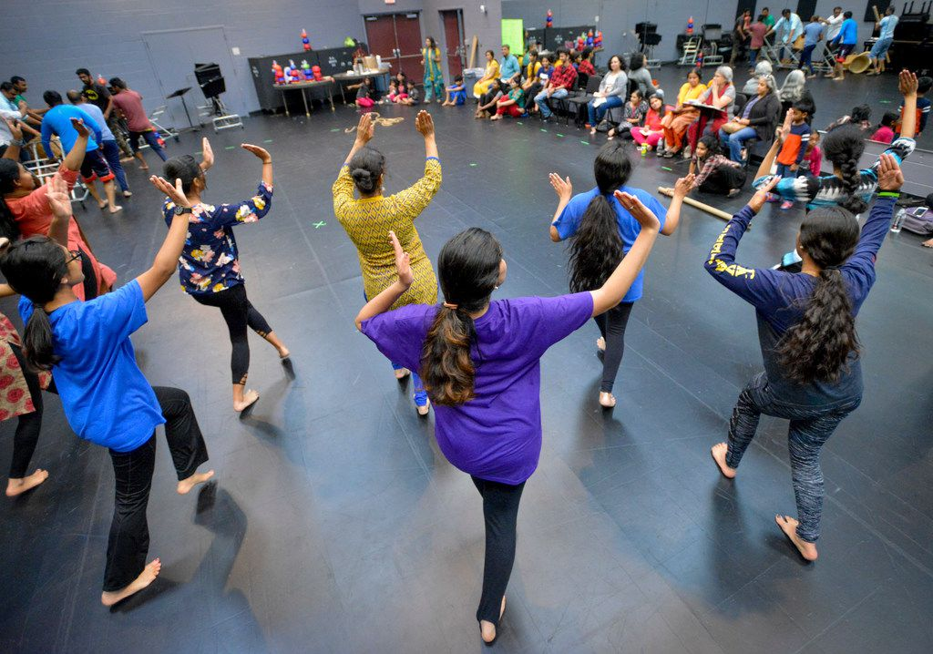 Dancers from the cast of The Red Pashmina  rehearse at the Irving Arts Center on Sept. 9.